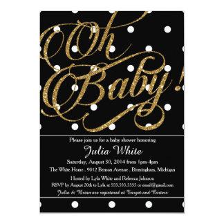 Glitter Baby Shower Invitation, Black and White 13 Cm X 18 Cm Invitation Card
