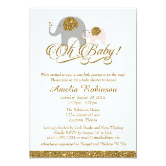 Glitter Baby Shower Invitation, Elephant Peanut 13 Cm X 18 Cm Invitation Card