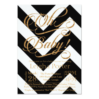 Glitter Baby Shower Invitation Gold black Chevron