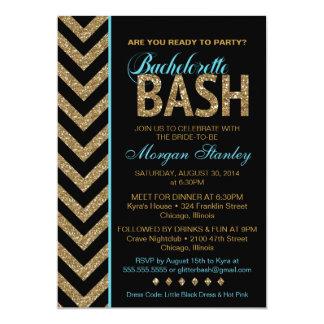 Glitter Bachelorette Bash Party Invitation BLUE