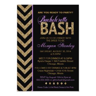 Glitter Bachelorette Bash Party Invitation PURPLE
