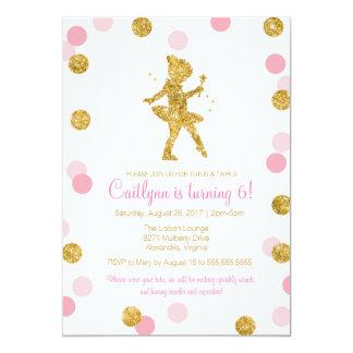 Glitter Ballerina, Pink and Gold Sparkle Birthday 13 Cm X 18 Cm Invitation Card