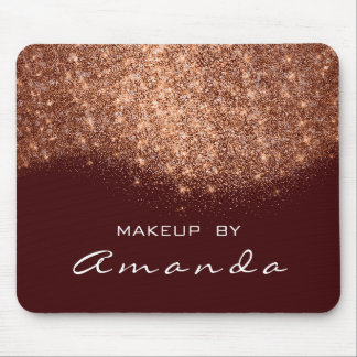 Glitter Beauty Studio Makeup Copper Burgundy White Mouse Pad