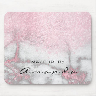 Glitter Beauty Studio Makeup Name Pink Marble Mouse Pad