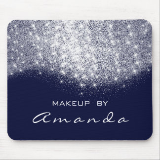 Glitter Beauty Studio Makeup Silver Blue Navy Name Mouse Pad