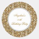 Glitter Birthday Party Gold Diamond Trim Any Age Round Sticker