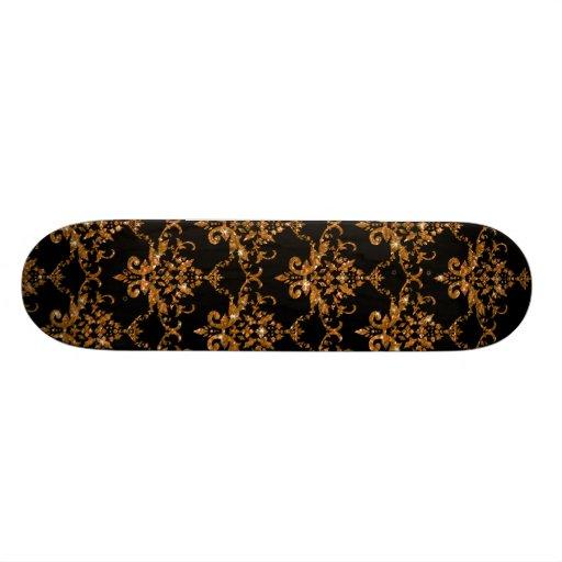 Glitter black gold damask pattern custom skateboard