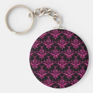 Glitter black hot pink damask pattern key chains