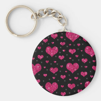 Glitter black hot pink hearts pattern key chain