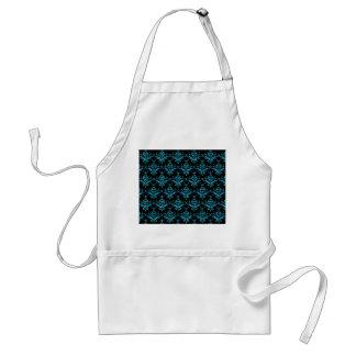 Glitter black light blue damask pattern aprons