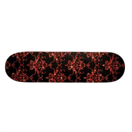Glitter black orange damask pattern skateboard decks
