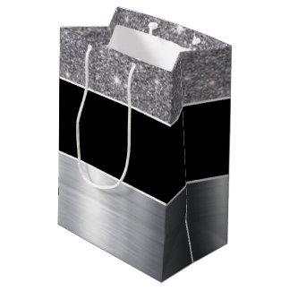 Glitter Black Silver Pattern Print Design Medium Gift Bag