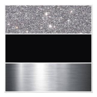 Glitter Black Silver Pattern Print Design Photo Art