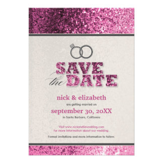 Glitter Bling Save the Date Announcement pink