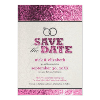 Glitter Bling Save the Date Announcement (pink)