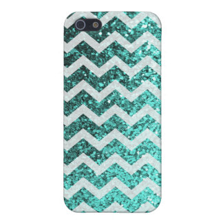 Glitter Bling Sparkly Chevron Pattern (aqua) iPhone 5/5S Case