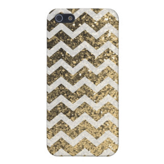 Glitter Bling Sparkly Chevron Pattern (gold) iPhone 5 Case