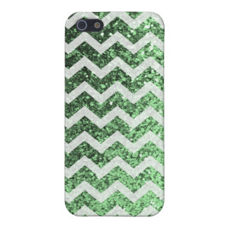 Glitter Bling Sparkly Chevron Pattern (green) iPhone 5/5S Covers