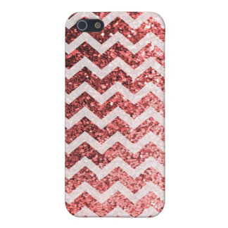 Glitter Bling Sparkly Chevron Pattern (red) iPhone 5/5S Cases