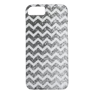 Glitter Bling Sparkly Chevron Pattern (silver) iPhone 8/7 Case