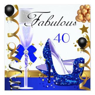 Glitter Blue Gold 40 Fabulous 40th Birthday Party 13 Cm X 13 Cm Square Invitation Card