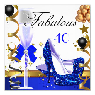 Glitter Blue Gold 40 Fabulous 40th Birthday Party 13 Cm X 13 Cm Square Invitation Card
