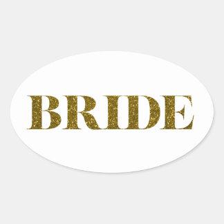 Glitter Bride Gold Oval Sticker
