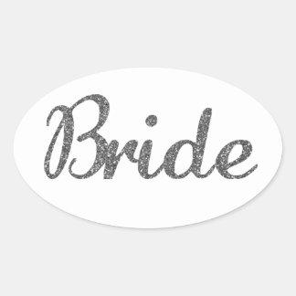 Glitter Bride Silver Oval Sticker