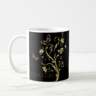 Glitter butterflies gold and pink personalized coffee mug