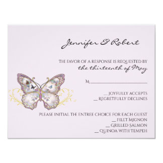 Glitter Butterfly on Lavender Response Card