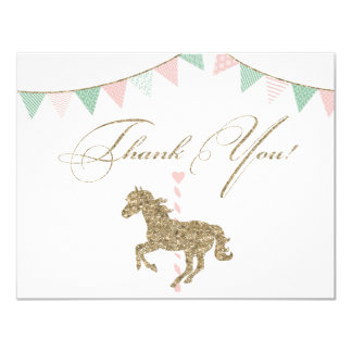 Glitter Carousel Horse | Thank You Card