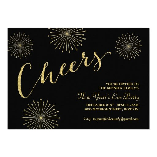 Glitter Cheers New Years Party Invitation