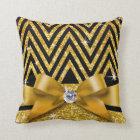 Glitter Chevron Bling Diamond Bow | gold Cushion