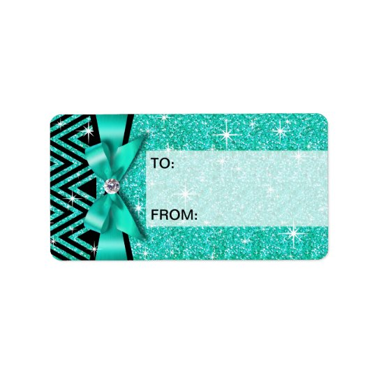 Glitter Chevron Bling Diamond Bow | teal Address Label