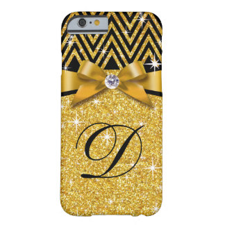 Glitter Chevron Bling Diamond Monogram | gold Barely There iPhone 6 Case