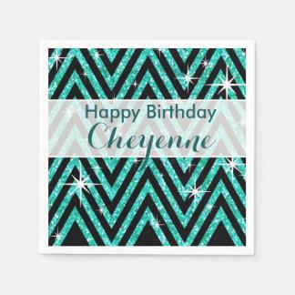 Glitter Chevron Bling Glam | teal Disposable Napkin