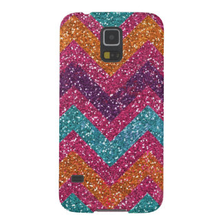 Glitter Chevron Pink Purple Orange Teal Galaxy S5 Case