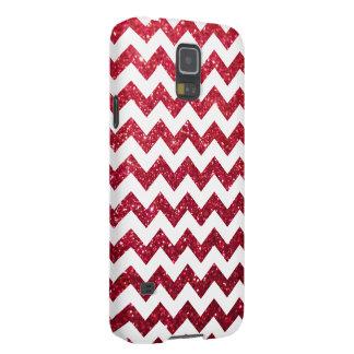 Glitter Chevron Red Cases For Galaxy S5