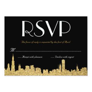 Glitter City Skyline Wedding RSVP Card 13 Cm X 18 Cm Invitation Card