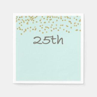 Glitter Confetti 25th Disposable Napkin