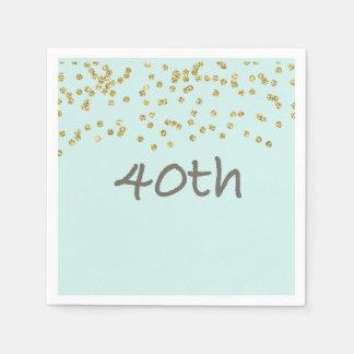 Glitter Confetti 40th Disposable Napkin