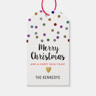 Glitter Confetti Dots Merry Christmas Gift Tags