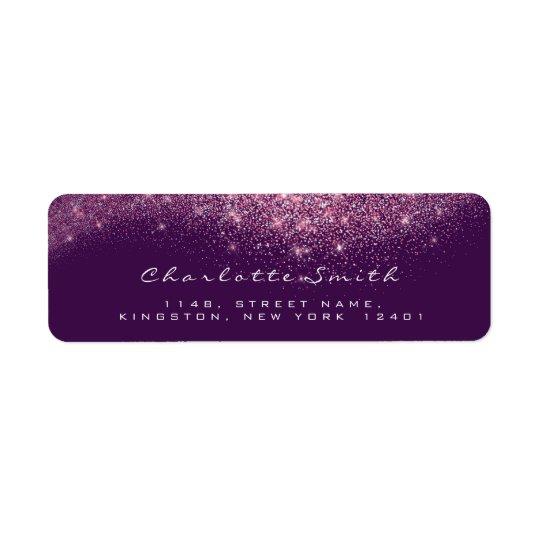 Glitter Confetti RSVP Purple Pink Violet Return Address Label
