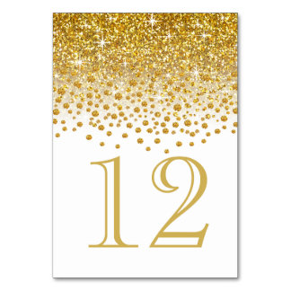 Glitter Confetti Shower Table Numbers | gold white Table Card