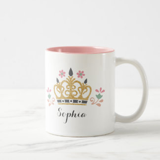 Glitter Crown Monogram Two-Tone Coffee Mug