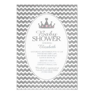 Glitter Crown Princess Baby Shower Invitatation 13 Cm X 18 Cm Invitation Card