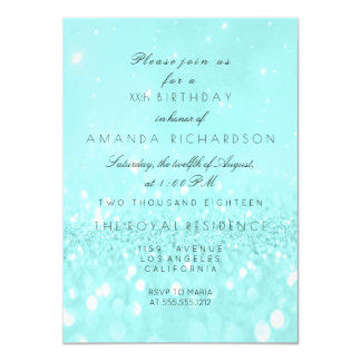 Glitter Delicate Pastel Turquoise Ocean Tiffany Card