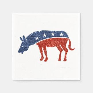 glitter democrat donkey paper napkins
