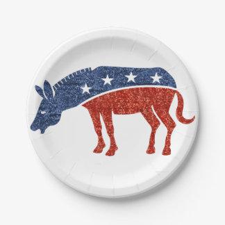 glitter democrat donkey paper plates 7 inch paper plate