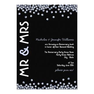 Glitter Diamond Wedding Anniversary Invitations